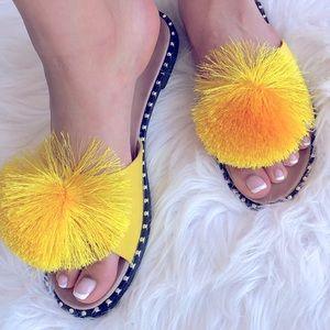BACK IN STOCK Yellow Pom Stud SlipOn Mule Sandals